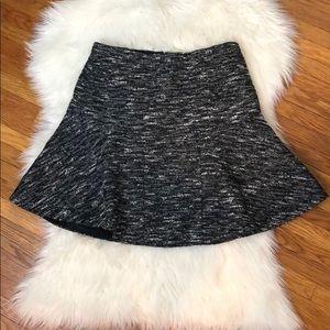 J. Crew Flare Knit White and Black Mini Skirt